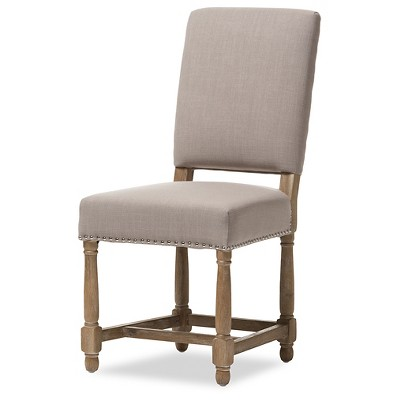Deborah French Provincial Style Country Reclaimed Oak U0026 Beige Linen Dining  Chairs (Set Of 2)   Baxton Studio