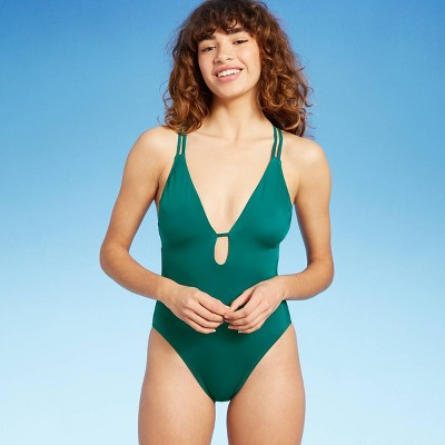 Women's Plunge Keyhole Double Strap One Piece Swimsuit - Shade & Shore™