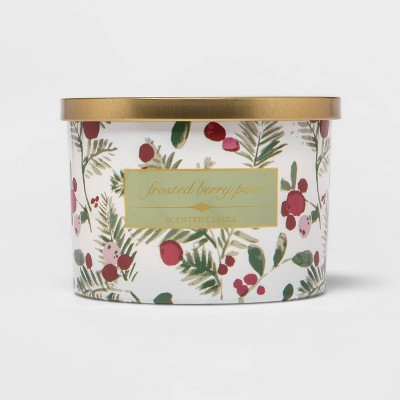 15oz Glass Jar 3-Wick Frosted Cranberry Pine Candle - Threshold™