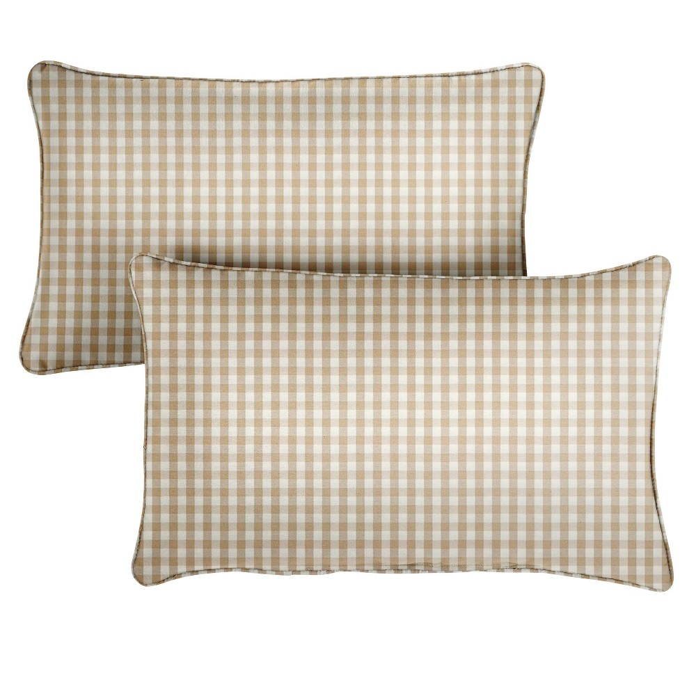 "Image of ""14"""" 2pk Outdoor Throw Pillows Beige/White"""
