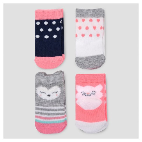 Baby Girls' 4pk Character Socks - Just One You™ Made by Carter's® Multicolor 0-3M - image 1 of 1