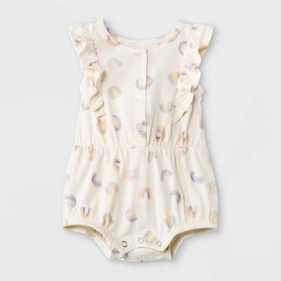 Grayson Mini Baby Girls' Rainbow Ruffle Romper - White 0-3M