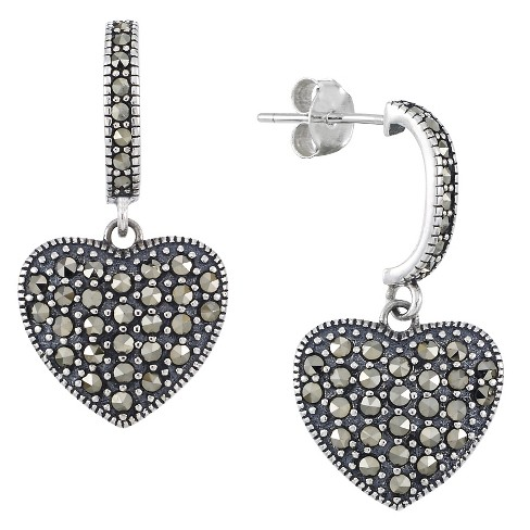 Marcasite C Hoops with Heart drop Earrings-Sterling Silver - image 1 of 1