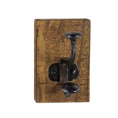 Rustic Wood and Metal Decorative Wall Hook - Foreside Home & Garden