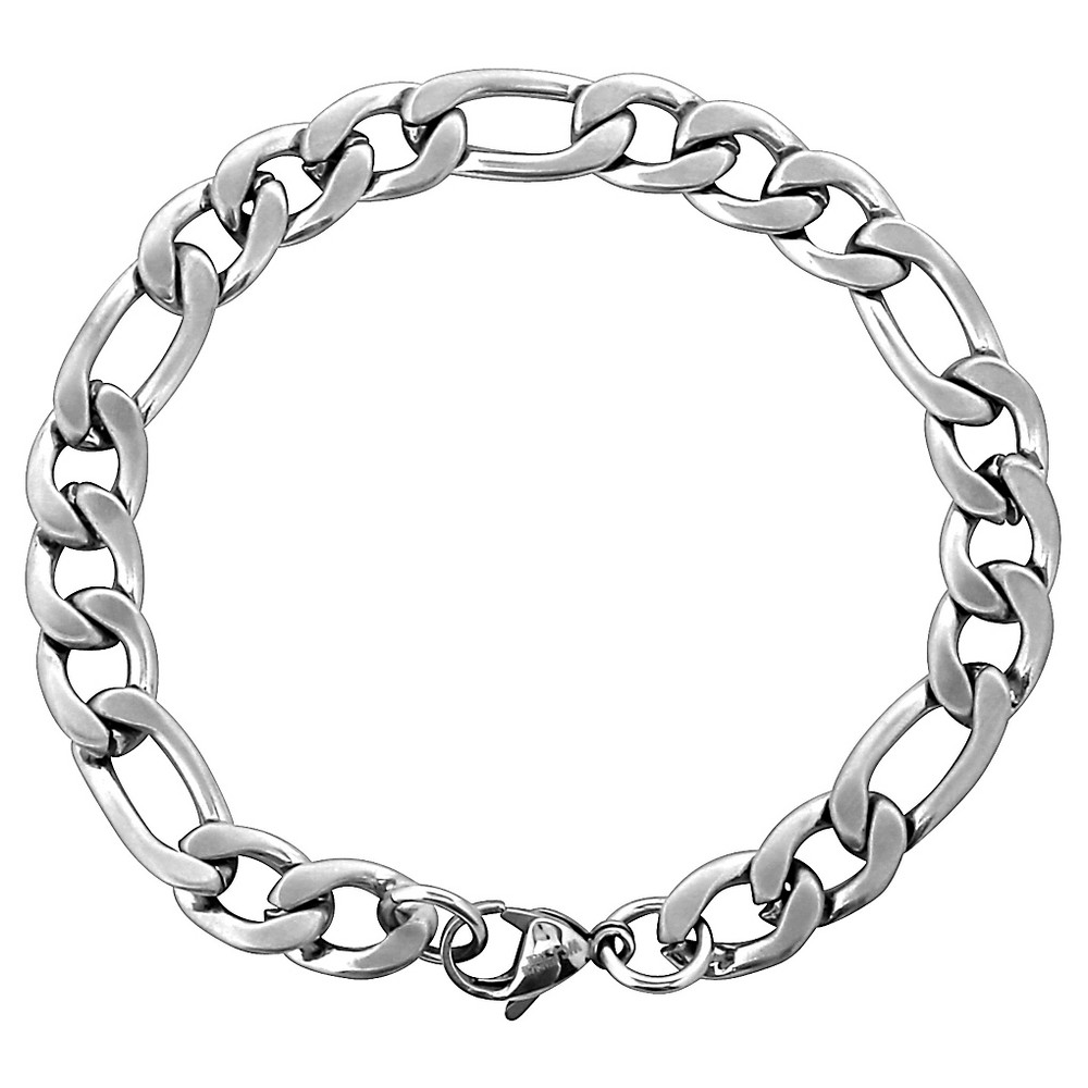 Men's West Coast Jewelry Stainless Steel Brushed Finish Figaro Chain Bracelet, Silver