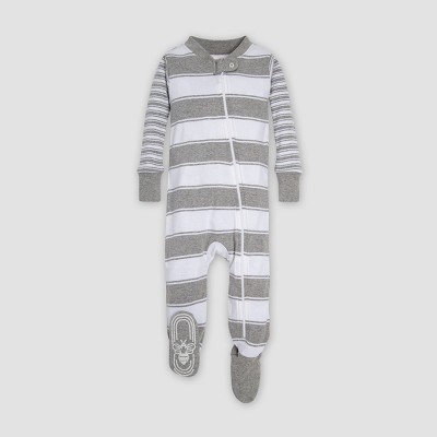 Burt's Bees Baby® Mixed Peace Organic Cotton Stripe Sleeper - Heather Gray 6-9M