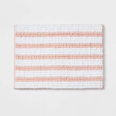 "17""x24"" Chunky Chenille Memory Foam Bath Rug Pink Stripe - Room Essentials™"