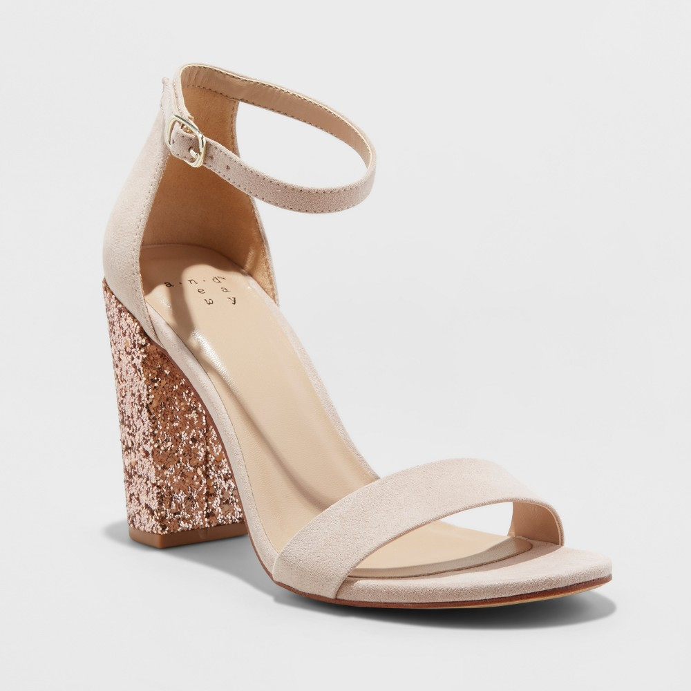 Women's Ema Glitter Satin Wide Width High Block Heel Pump Sandal - A New Day Rose Gold 7W, Size: 7Wide