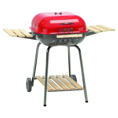 Americana The Swinger Charcoal Grill with Side Tables Model 4105.0.511 - Red - Meco