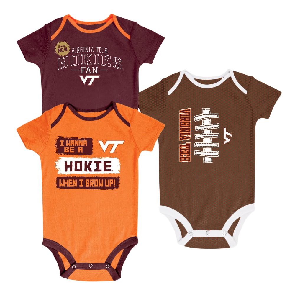 NCAA Newborn Bundle of Joy 3pk Bodysuit Set Virginia Tech Hokies - 3-6 M, Newborn Boy's, Size: 3-6M, Multicolored