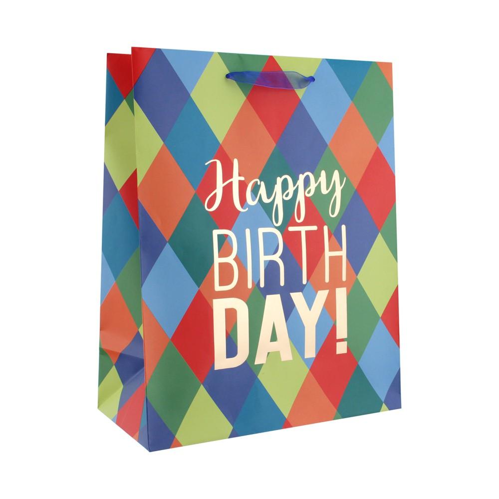Diamond Pattern Happy Birthday Large Gift Bag - Spritz, Multi-Colored