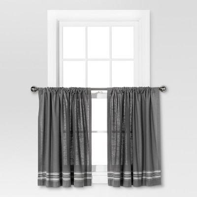 "36""x42"" Striped Curtain Tiers Gray/Cream - Threshold™"