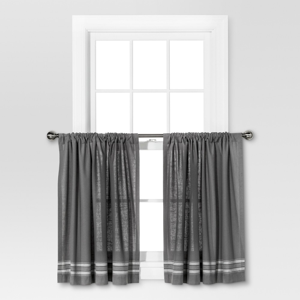 Image of Curtain Tiers - Gray/Cream Stripe - Threshold
