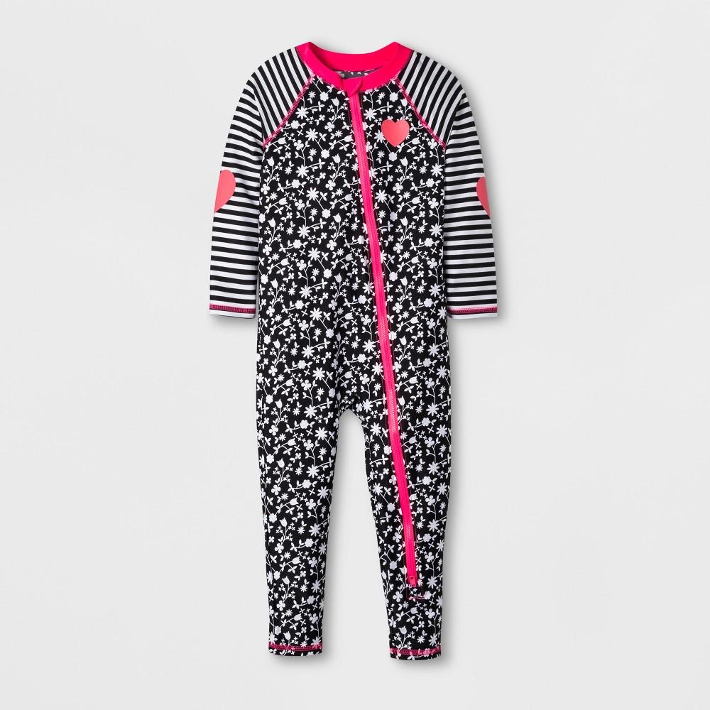 Toddler Girls' Floral Swim Full Bodysuit - Cat & Jack Black 4T