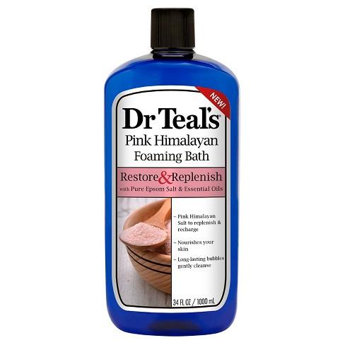 Dr Teal's Pure Epsom Salt & Essential Oils Restore & Replenish Pink Himalayan Foaming Bath - 34 fl oz - image 1 of 3