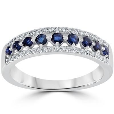 Pompeii3 5/8 cttw Blue Sapphire & Diamond Wedding Ring Womens Band 14k White Gold
