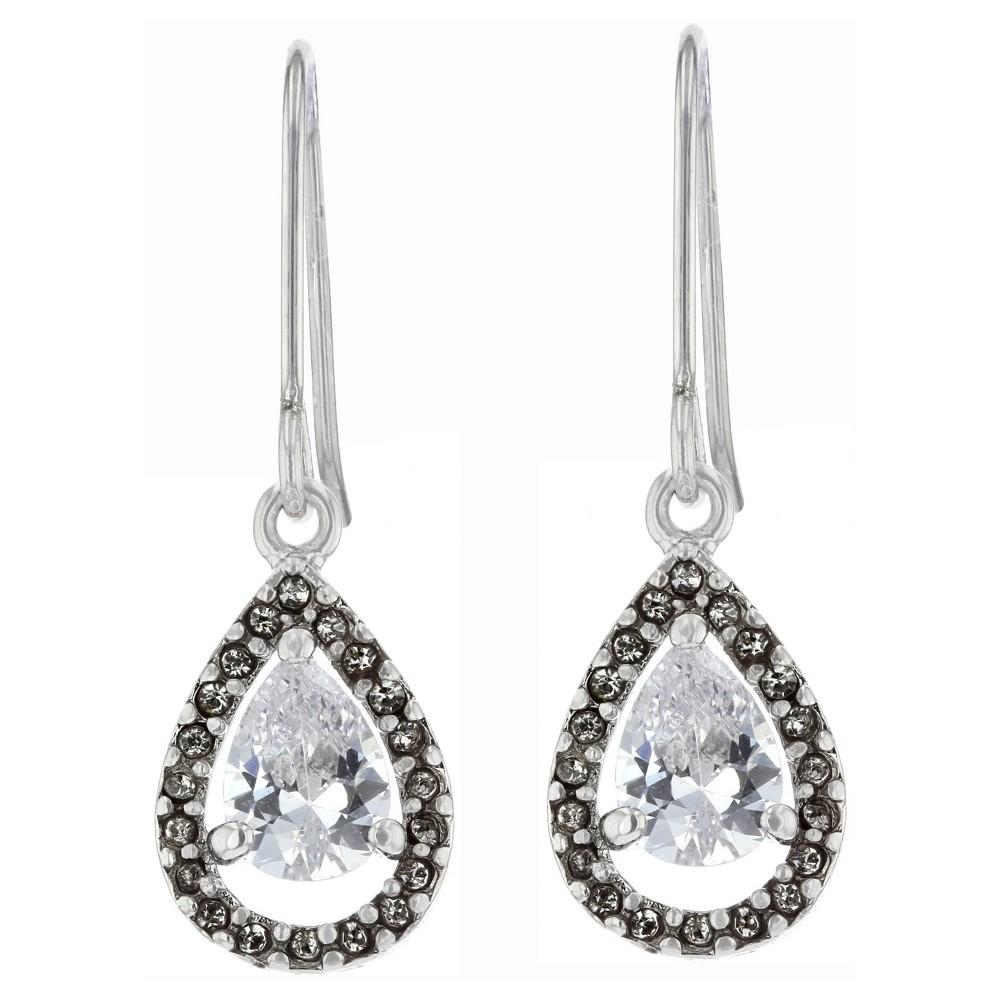 Dangle Drop Earrings Plated Brass Cubic Zirconia Halo
