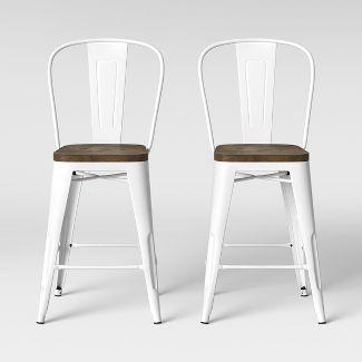 Carlisle Wood Seat Backed Counter Stool Matte White - Threshold™