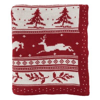 """50""""x60"""" Christmas Sweater Design Throw Blanket Red - Saro Lifestyle"""