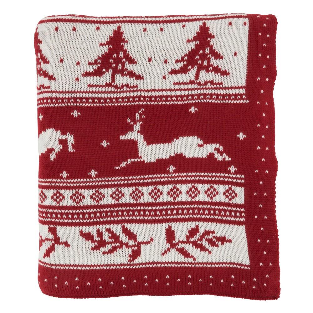 50 34 X60 34 Christmas Sweater Design Throw Blanket Red Saro Lifestyle
