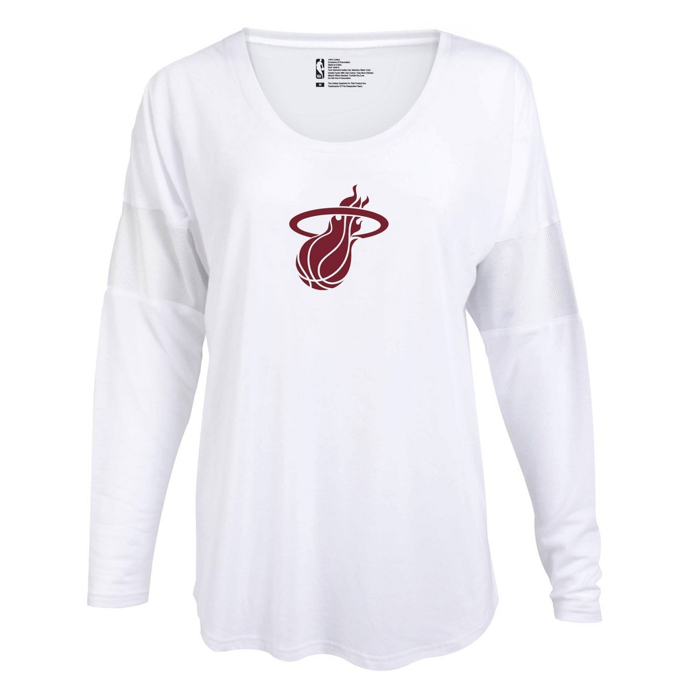 Nba Miami Heat Women 39 S Core Athletic White Mesh Insert Long Sleeve T Shirt M