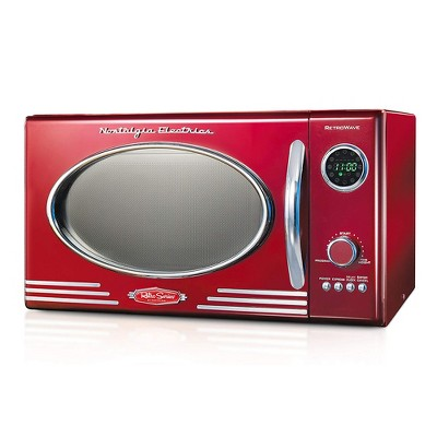 Nostalgia RMO4RR Retro 0.9 Cubic Foot 800W Kitchen Countertop Microwave Oven with Digital Clock, LED Display, 5 Power Levels and 12 Cook Settings, Red