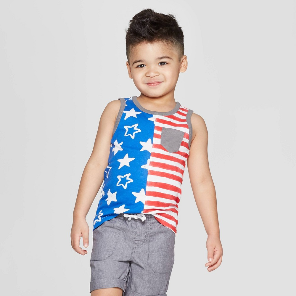 Toddler Boys' Americana Split Tank Top - Cat & Jack Blue/Red 5T