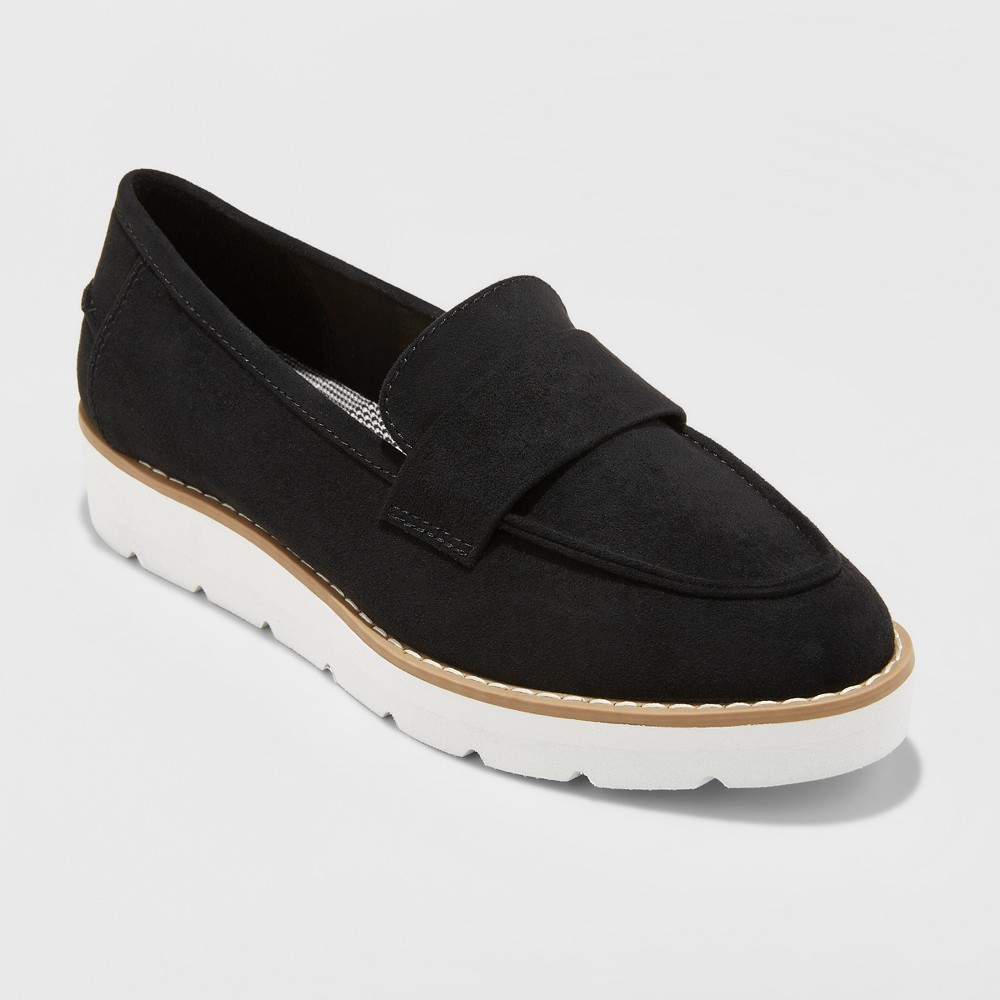 Women's Penny Microsuede Loafers - A New Day Black 7