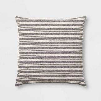 Woven Stripe Oversize Square Pillow Black/Cream - Threshold™
