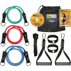 GoFit Pro Gym-in-a-Bag Round Resistance Bands with Handles, Straps, Door Anchor and DVD