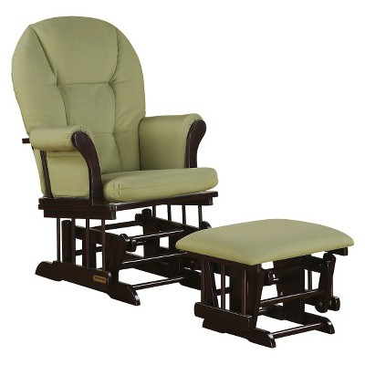 Shermag Alexis Glider Rocker and Ottoman Combo - Espresso with Sage Twill