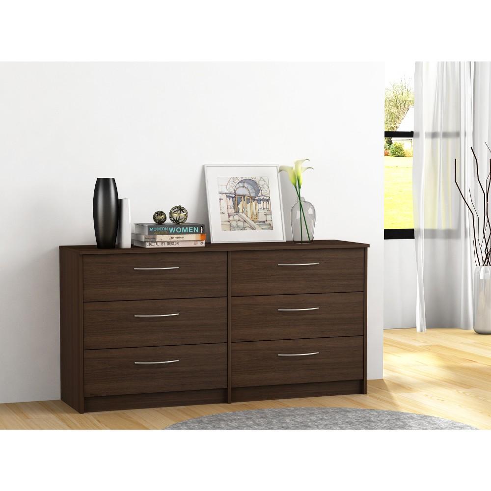 Addison 6 Drawer Dresser Walnut Brown - Loft 607