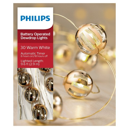 more photos 5bdbe 137a4 Philips® 30ct Christmas Battery Operated LED Gold Globes Dewdrop Fairy  String Lights - Warm White