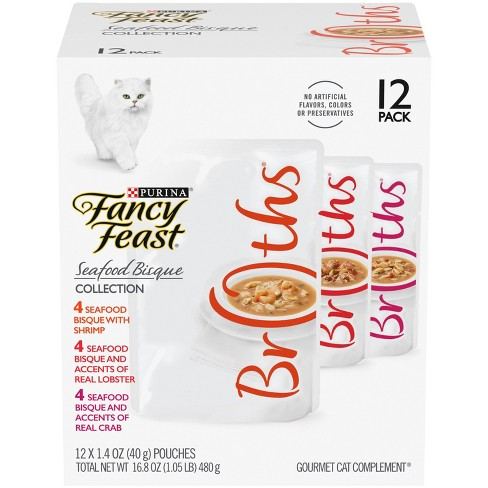Fancy Feast Broths Seafood Bisque Gourmet Wet Cat Food Variety Pack - 1.4oz /12ct - image 1 of 1