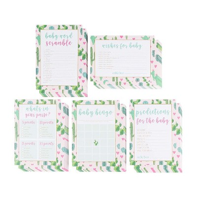 5-Set Baby Shower Game Cards, Party Activity Supplies Including Bingo, Word Scramble, Prediction and Well Wishes, Boho Cactus Design, Up to 50 Guests