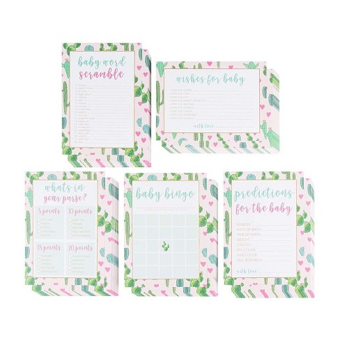 5-Set Baby Shower Game Cards, Party Activity Supplies Including Bingo, Word Scramble, Prediction and Well Wishes, Boho Cactus Design, Up to 50 Guests - image 1 of 3