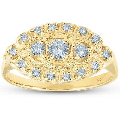 Pompeii3 Antique Yellow Gold 1/2ct Diamond Right Hand Ring - Size 6