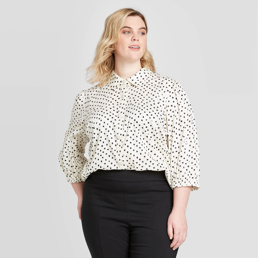 Women's Plus Size Polka Dot 3/4 Sleeve Collared Button-Down Shirt - Who What Wear Black/White 2X, Women's, Size: 2XL was $27.99 now $19.59 (30.0% off)