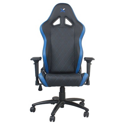 Ferrino Line Blue on Black Diamond Patterned Gaming and Lifestyle Chair by RapidX