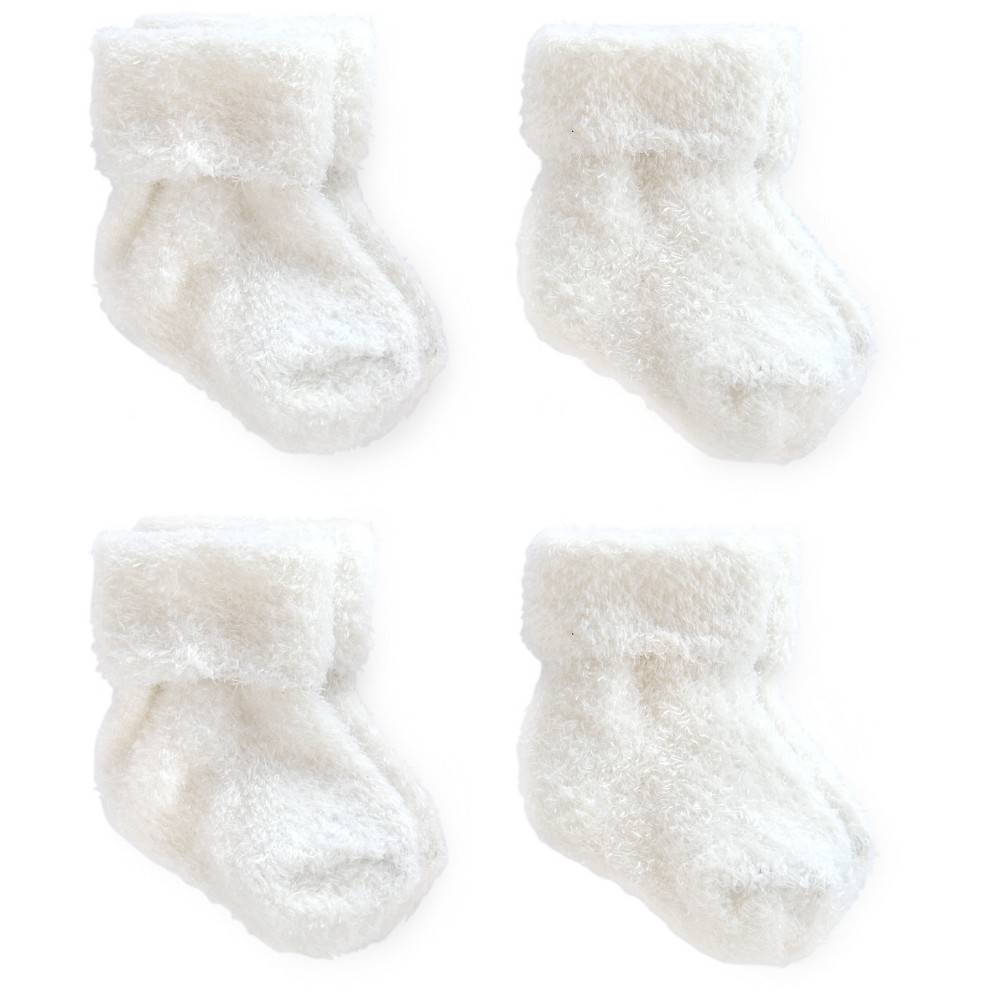 Image of Baby 4pk Ankle Sock Set - Just One You Made by Carter's White 0-3M, Kids Unisex, Size: Small