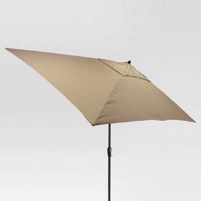 6.5' x 10' Rectangular Patio Umbrella Taupe - Black Pole - Threshold™
