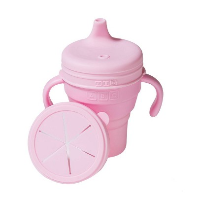 Austin Baby Collection Silicone Collapsible Cup Sippy & Snackie Lid Set - Soft Pink