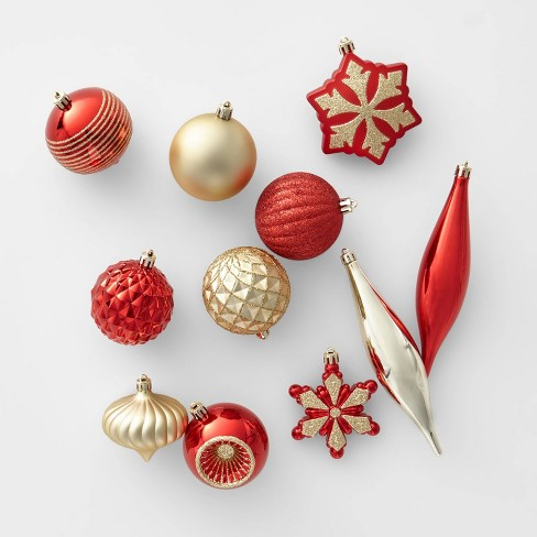 Ornaments Christmas.40ct Christmas Ornament Set Red And Gold Wondershop