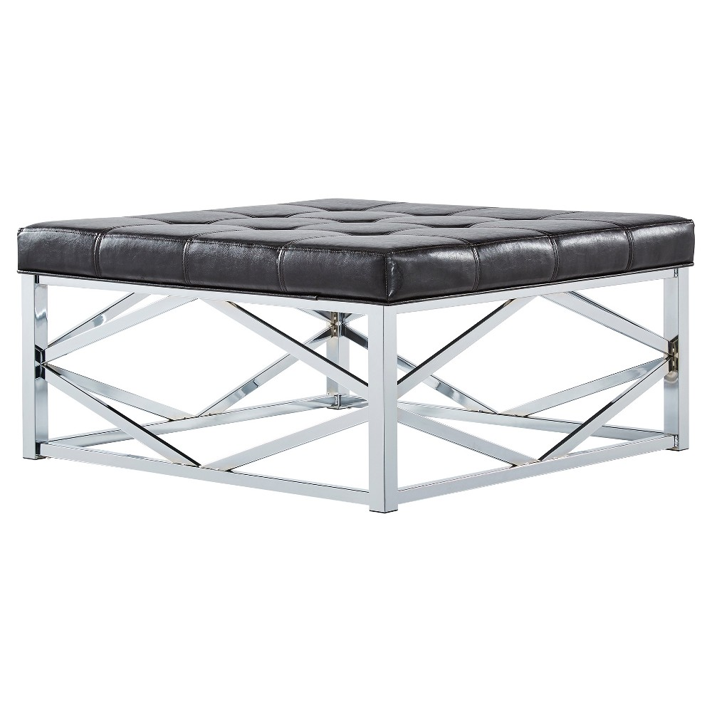 Fontaine Chrome Dimple Tufted Geometric Cocktail Ottoman Brown - Inspire Q