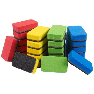 Juvale 24 Pack Mini Magnetic Whiteboard Erasers, 4 Colors (2.7 x 1.6 in)