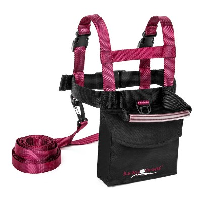 Lucky Bums Kids Ski Snowboard Skateboard Trainer Harness w/ Grip N' Guide Handle, 2 Leashes, and Backpack for Children Ages 2 to 7 Years Old, Pink