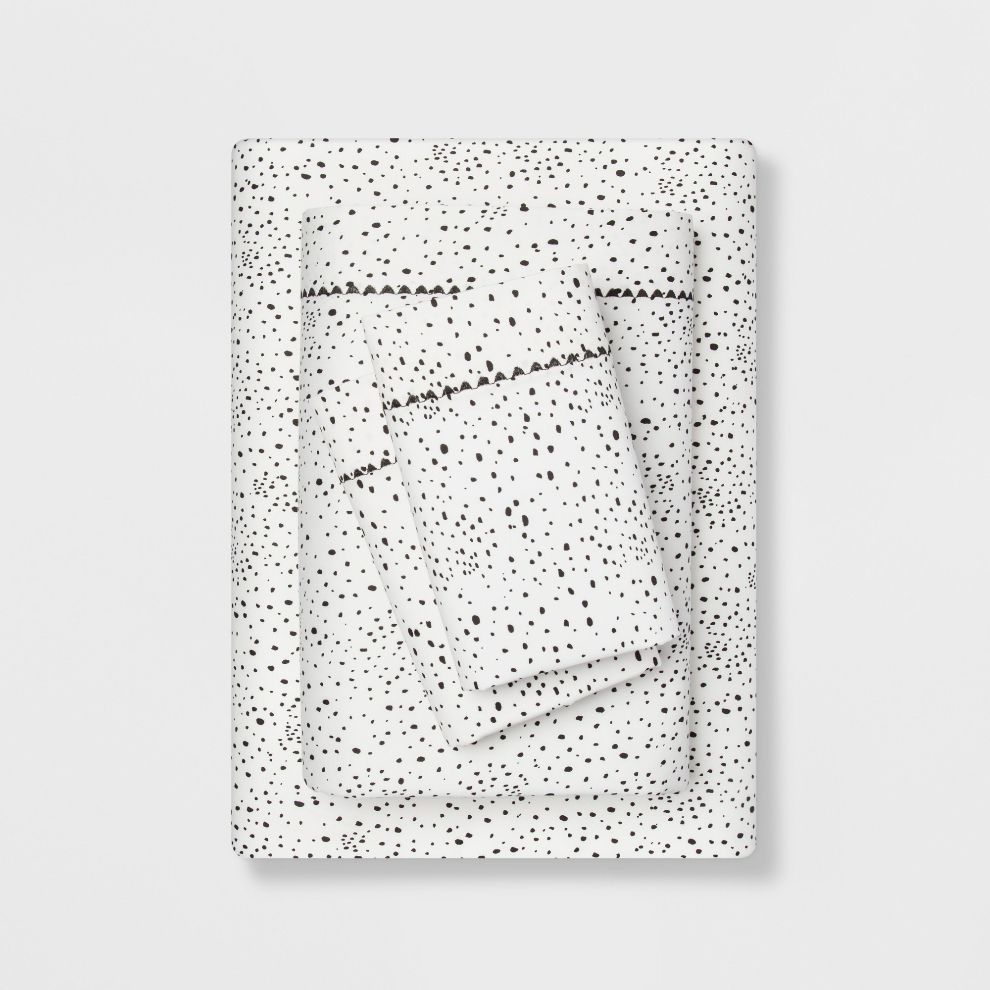 Full 400 Thread Count Dotted Print Cotton Performance Sheet Set White/Black - Opalhouse