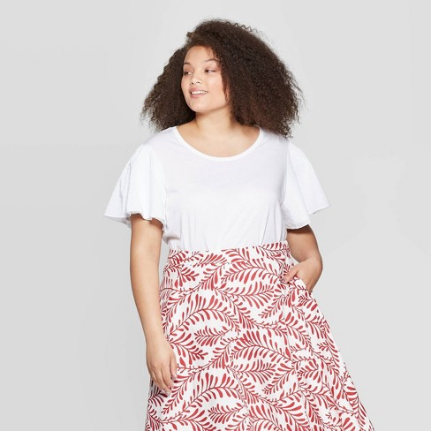 e7f0a641a51899 Women's Plus Size Puff Short Sleeve Scoop Neck Top - Who What Wear™ Bright  White 2X : Target