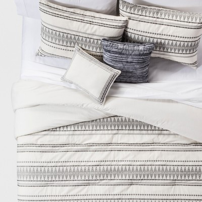 King 5pc Tatiana Global Woven Stripe Cotton Comforter Set Cream