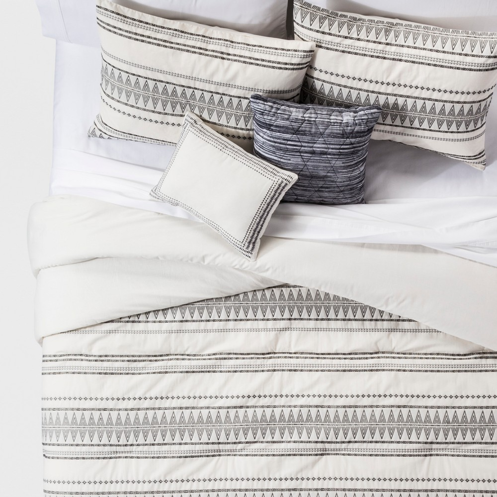 Image of Full/Queen 5pc Tatiana Global Woven Stripe Cotton Comforter Set Cream